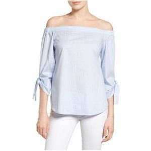 Halogen Off Shoulder Top Blue White Striped Preppy
